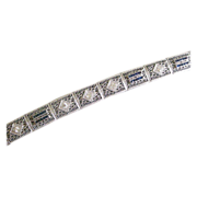 Deco Line Bracelet Platinum & 14K Gold Diamonds with Sapphires--Professional Appraisal Included