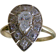 Magnificent Diamond Ring Pear Shape Center with Diamonds All Around Mid-Century