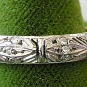 MUST SEE 50% OFF ORIGINAL PRICE Vintage 14K White Gold Filigree Eternity Band 24 Diamonds