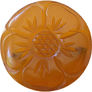 Exceptionally Nice Vintage Bakelite Pin Round with Fine Flower Design Carving Apple Juice Color