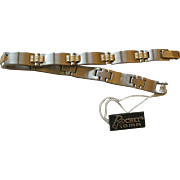 Fine Vintage Rochet Roma Gold Tone and Silver Tone Link Bracelet