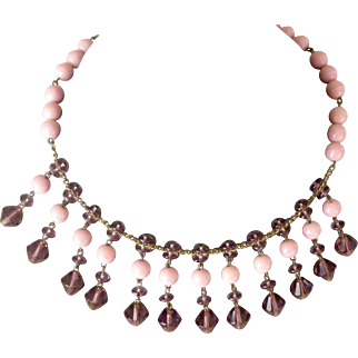 Distinctive Bead Collar Necklace Pink and Lilac Dangles Mid-Century