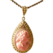 Magnificent Carved Coral Cameo Pendent Necklace in 14K Yellow Gold Etruscan Victorian Setting