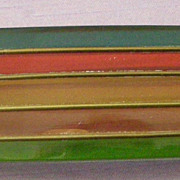 50% OFF REGULAR PRICE Unique Art Deco Era Bakelite Pin 5 Translucent Horizontal Colored Stripes