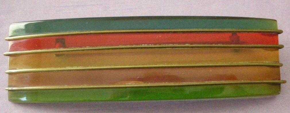 Unique Art Deco Era Bakelite Pin 5 Translucent Horizontal Colored Stripes PRICE REDUCED