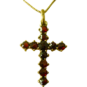 Rose Cut Garnets Christian Cross Pendent Necklace Victorian Era