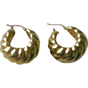 Contemporary 18K Yellow Gold Wide Hoop Earrings PRICE REDUCED