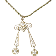 Fine Early 1900s Pendent Necklace 14K Yellow Gold Filigree Two Dangles, Three Raised Diamonds
