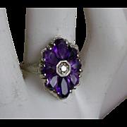 Art Deco Ring Amethyst Flower  Petals, Diamond Center 14K White Gold