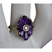 Art Deco Ring Amethyst Flower  Petals, Diamond Center 14K White Gold