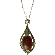 Exquisite Art Deco Era Pendent Necklace Sterling Silver, Marcasites, Carnelian Cabochon