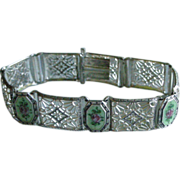 Sterling Silver Filigree Line Bracelet with, Green + Pink Flower Guilloche Enamel Links Very Deco