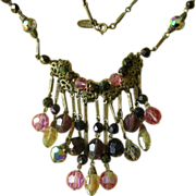 Vintage Miriam Haskell Necklace Aurora Borealis Beads & Dangles REDUCED!!
