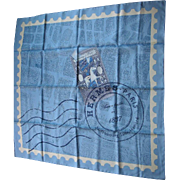 Hermes Scarf Du Passage a Paris Blue Map of Paris