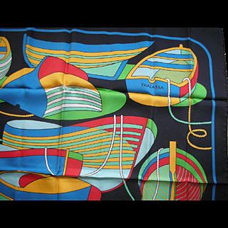 Hermes France Silk Twill Scarf Thalassa