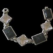Deco Bracelet Etched Pattern Rock Crystal & Onyx Links, 14K White Gold PRICE REDUCED