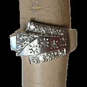 Stunning Mid-Century Ring 14K White Gold & Diamonds Buckle Design PRICE REDUCED