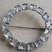PRICE REDUCED Open Circle Deco Bright Square Cut Clear Crystals, Silver Tone