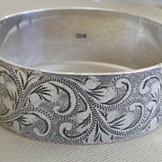 30% OFF ORIGINAL PRICE Wide Engraved Sterling Silver Bangle Bracelet English Hallmark