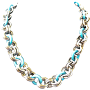 50% OFF REGULAR PRICE Bold Vintage Chain Necklace Turquoise Glass and Silver Tone Open Circles