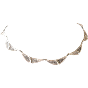 Mid Century Modern Necklace Sterling Silver Curved Links with Vertical Lines of Silver