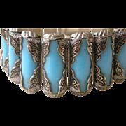 Spectacular Mid Century Era Bracelet Aqua Plastic Rods in Chased Silver Tone
