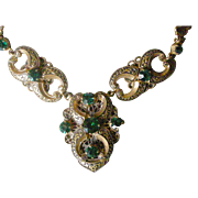 Extraordinary Art Deco  (Probably Czech) Necklace Faux Emeralds Brass with Black Enamel