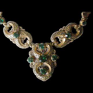 Extraordinary Art Deco  (Probably Czech) Necklace Faux Emeralds Brass with Black Enamel