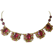 PRICE REDUCED Czechoslovakia Necklace Large Rosy Red Faux Rubies, Enamel set in Brass