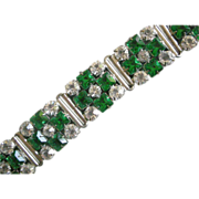 Vintage Sparkle! Wide Link Bracelet Vivid Faux Emeralds, Clear Crystals