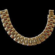 Retro 1940s Gold Tone Chunky Link Bracelet with Faux Diamonds & Faux Sapphires