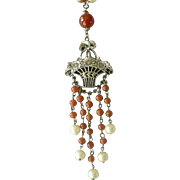 Art Deco Era Bead Necklace with Flower Basket Center Faux Pearls and Faux Carnelian