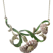Lovely Pre-World War II Necklace Lilac Enamel Flowers, Green Leaves in Silver From England