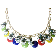 Festive 1950's Necklace Multicolored Plastic Dangle Beads on Celluloid Chain