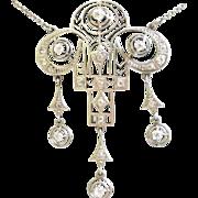 Awesome Geometric Deco Necklace 14K Gold + Diamonds Dangles