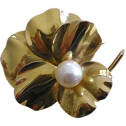 REDUCED!! RARE Victorian Pansy Pin Brooch 18K YELLOW Gold, 9.3 mm Cultured Pearl Center