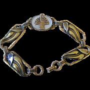 Deco Era Bracelet Gold Filled on Sterling Leaf Links with Flower Basket in Center on Mother of Pearl
