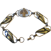 Deco Era Bracelet Gold Filled on Sterling Leaf Links with Flower Basket in Center on Mother of Pearl