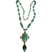 Superb Necklace 1930's Deco Czech Green Peking Glass Beads Brass, Glass, and Rhinestone Filigree Dangle Pendent