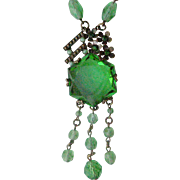 Exceptional Deco Necklace from Czechoslovakia Large Green Crystal with Dangles Crystal Bead Chain