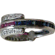 RARE Deco Flip Band Ring Diamonds Hinged to Flip to Frame Ruby or Sapphire Side 18K White Gold From England
