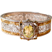 Lacy Deco Filigree Bangle Bracelet with Green/Yellow Crystal