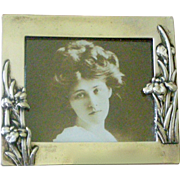 Delightfful Petite Picture Frame Silver Plate Repousse Flowers