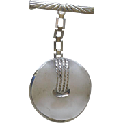 Clever Pin from Art Deco Period Curved Camphor Glass Circle Dangling on Silver Tone Bar