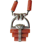 Fabulous German Art Deco Necklace Chrome and Coral Colored Galalith Plastic