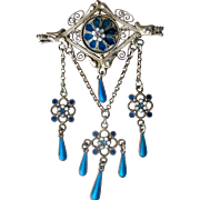 Ornate Vintage Pin by Marius Hammer, Norway 835 Silver and Enamel Dangles