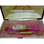 Deco Era Ladies Wrist Watch Gold Tone 17 Jewel Swiss Made Original Box