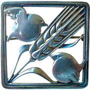 Fine Georg Jensen Denmark Vintage Pin  Doves with Sheaf of Wheat Sterling Silver