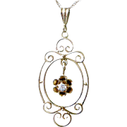 Lovely Early 1900's Dainty Pendent Necklace 14K Yellow Gold Diamond Dangle in Center