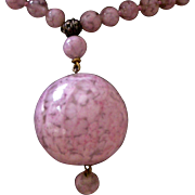 Long Vintage Necklace Rosy Pink Art Glass Beads with Large Bead Dangle